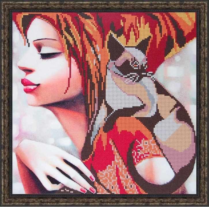 Б-3154 - Девушка с кошкой - схема (Алёшкина любовь)