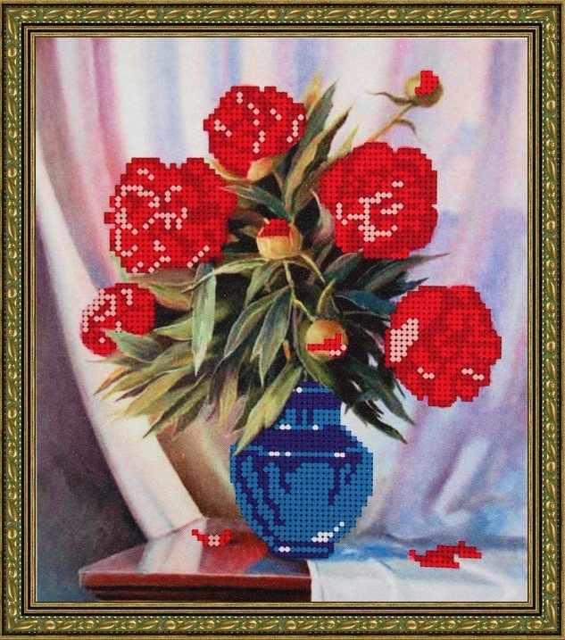 Б-4039 - Красные пионы - схема (Алёшкина любовь)