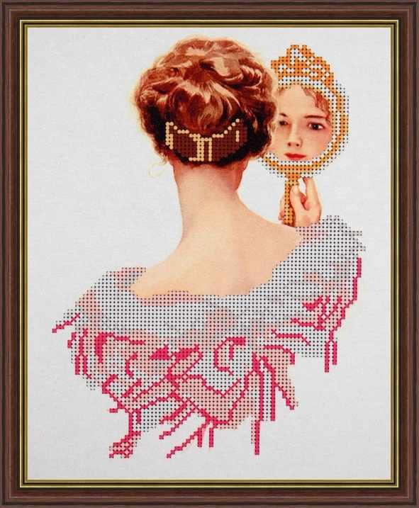 Б-4107 - Дама с зеркальцем - схема (Алёшкина любовь)