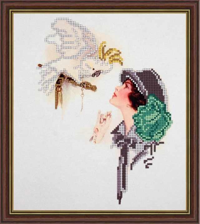 Б-4108 - Дама с попугаем - схема (Алёшкина любовь)