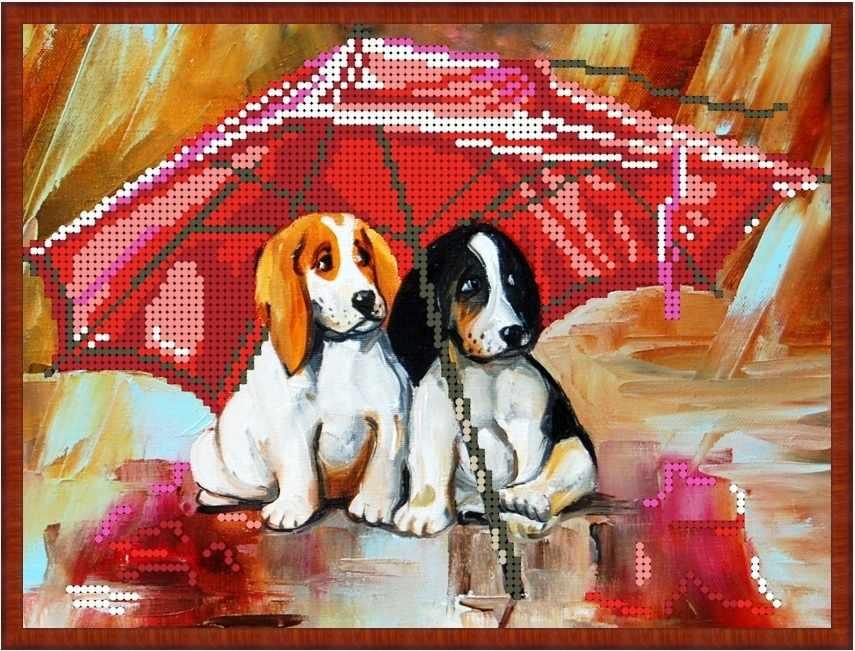Б-4196 - Собачки под зонтом - схема (Алёшкина любовь)