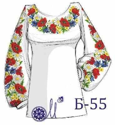 Б-55 Заготовка рубашки серая (Мережка)