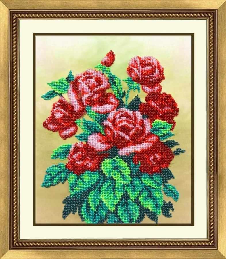 Б1234 Букет алых роз (Паутинка)