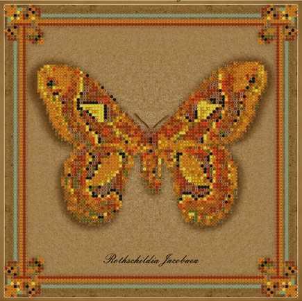 бис-015арт коллекция бабочек - Rothschildia Jacobaea - схема