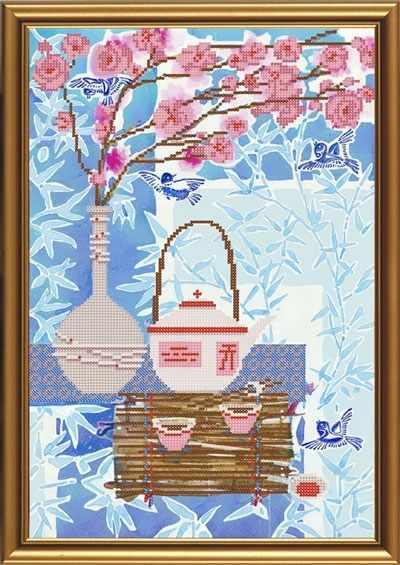 Бис 3197 Чайная церемония. Яньча (рисунок на ткани)