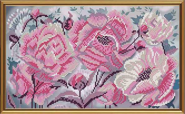 Бис 3267 Розовые пионы (рисунок на ткани)