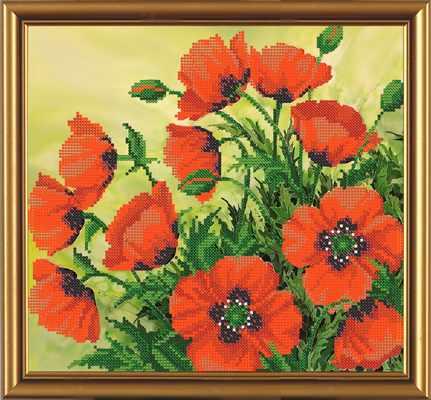 Бис 3085 Яркие маки (рисунок на ткани)