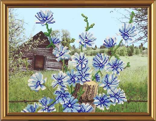 Бис 3111 Голубые цветочки  (рисунок на ткани)