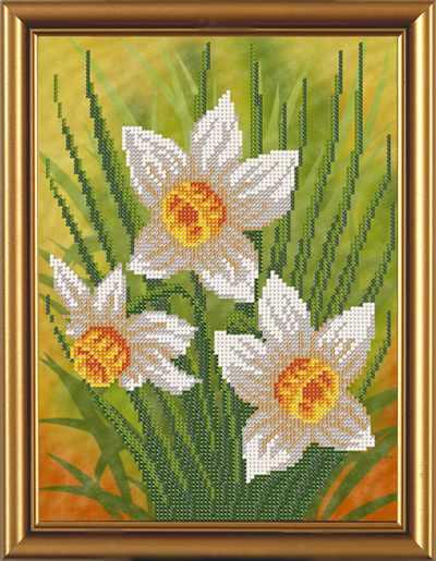 Бис 4069 Нарцисс (рисунок на ткани)