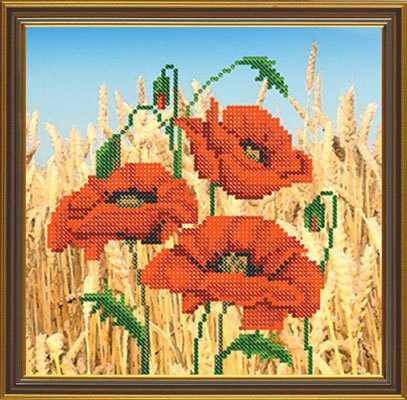 Бис 4141 Маки в поле (рисунок на ткани)