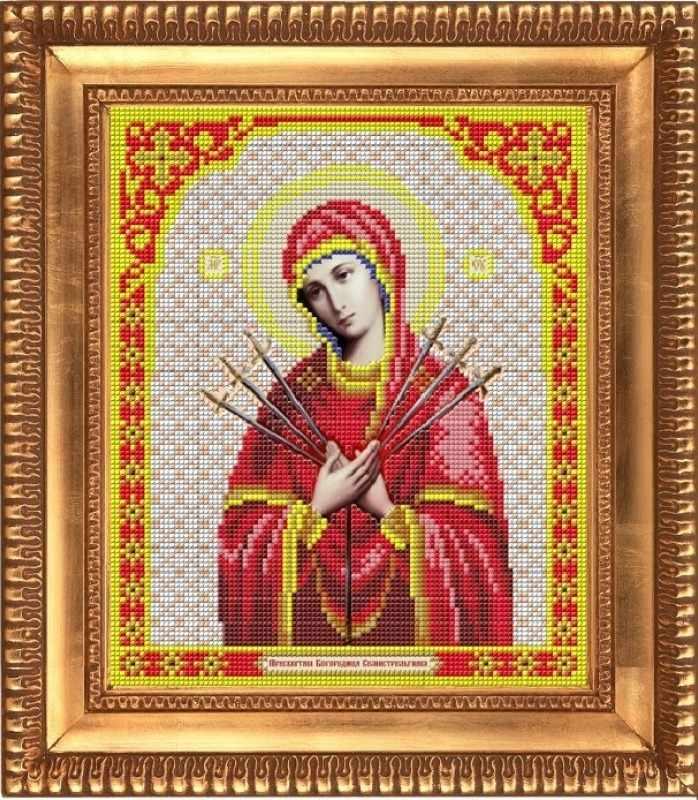 """И-4004 """"Пресвятая Бог. Семистрельная"""" - рисунок на ткани"""