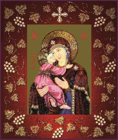 БП117 Богородица Владимирская в рамке (Из. Рук.)