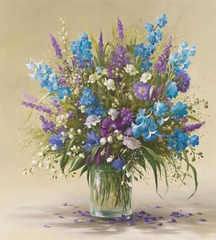 Букет полевых цветов (АЖ-1097) - картина стразами