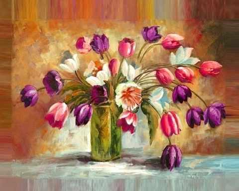«Цветы тюльпанов» (АЖ-1131) - картина стразами
