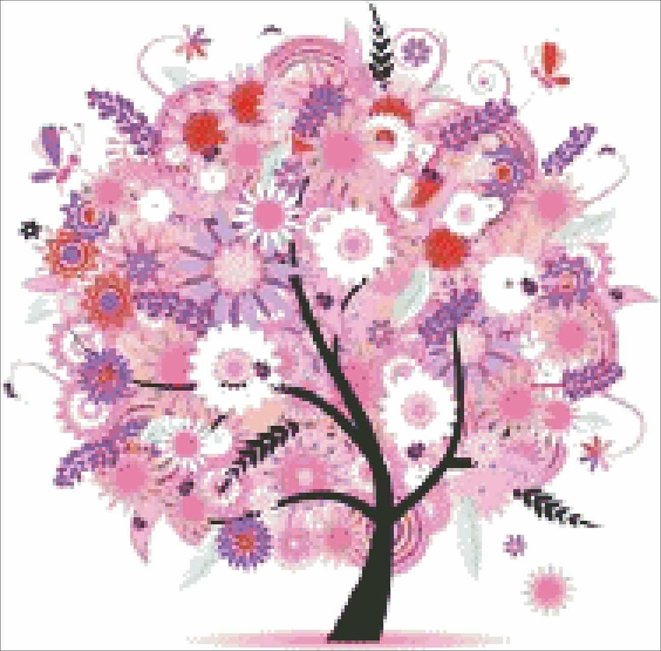 Дерево в розовых цветах(АЖ-343) - картина стразами