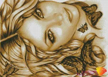 Девушка с бабочками (АЖ-1084) - картина стразами