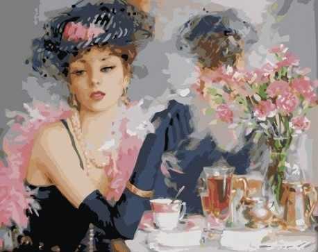 "G332 ""Девушка за чашкой чая """