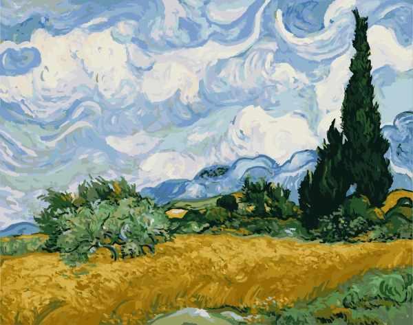 """G415 """"Пшеничное поле с кипарисами"""" Ван Гог"""