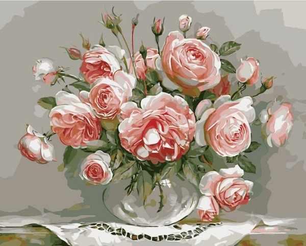 """G436 """"Розовые розы в прозрачной вазе"""""""