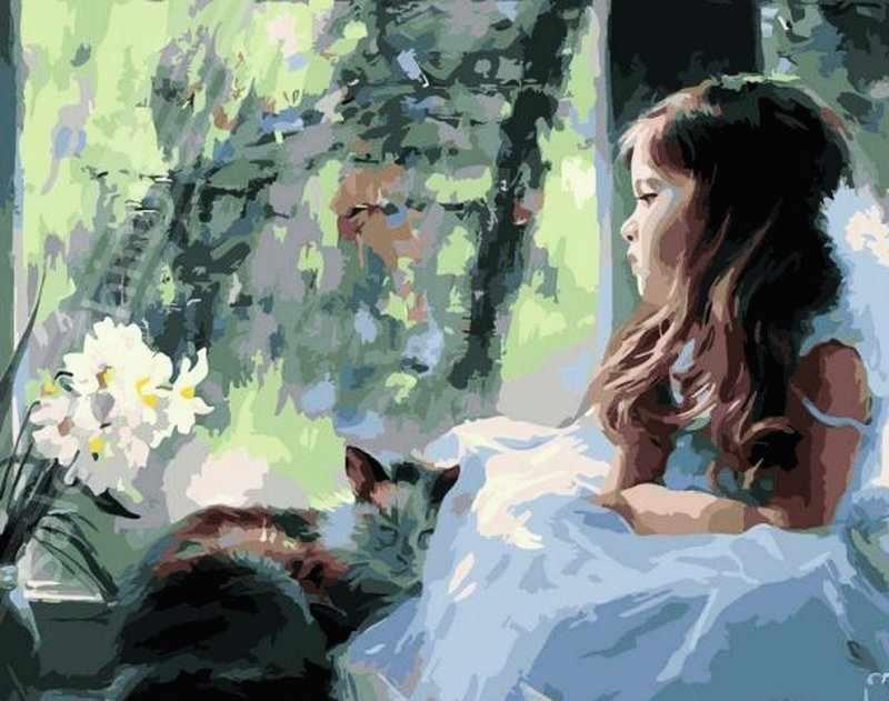 GХ6920 Девочка в белом и кошка
