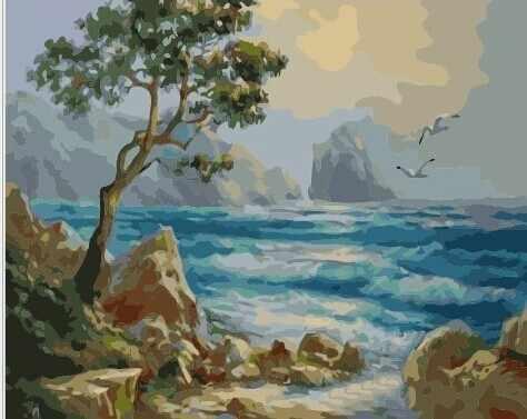GХ6998 Одинокое дерево на берегу моря