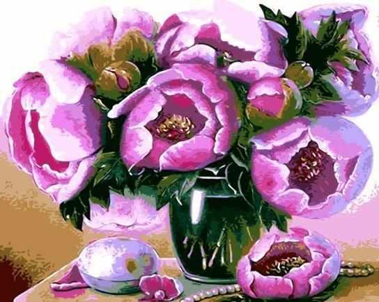 GХ7264 Лиловые цветы в зеленой вазе