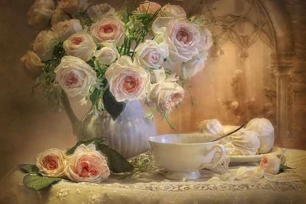 GХ8050 Белые розы и белая чашка