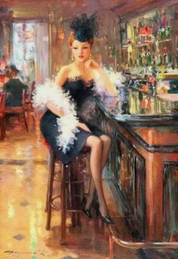 GХ8076 Девушка в баре