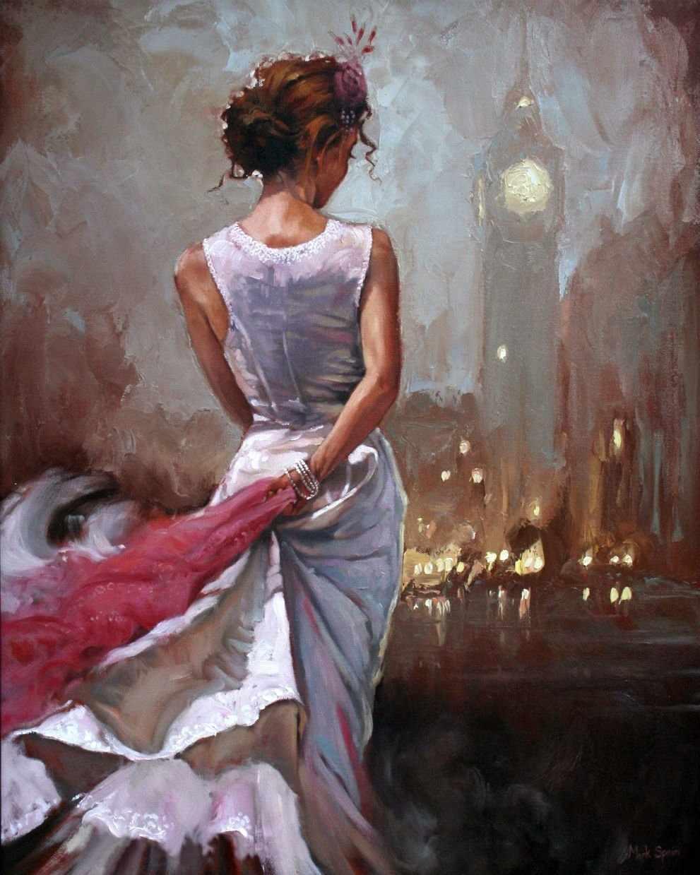 GХ8101 Девушка с красной шалью за спиной