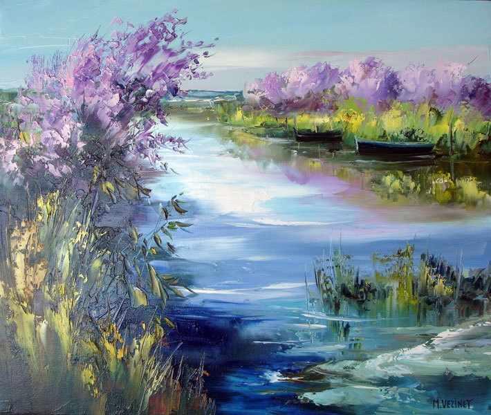 GХ8159 Сиреневые кусты вдоль реки