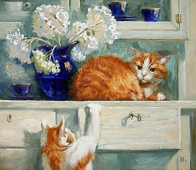 GХ8194 Два рыжих кота на буфете