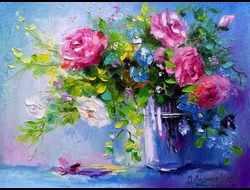 GX8595 Розы на голубом фоне
