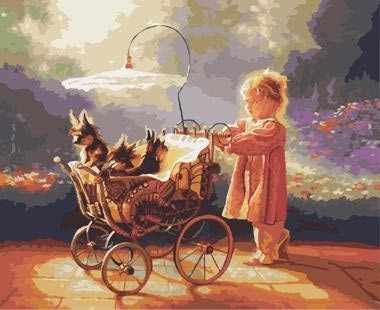 "GХ8957 ""Девочка катит коляску со щенками"""