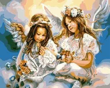 """GХ8963 """"Две девочки-ангела на облаке"""""""