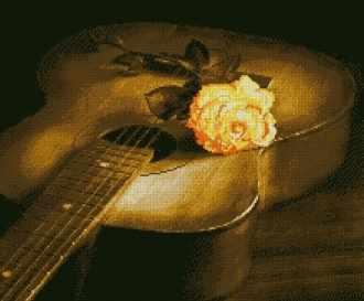 Гитара и Роза (АЖ-1051) - картина стразами