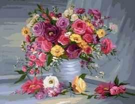 GX7086 Красные розы и желтые ромашки в вазе