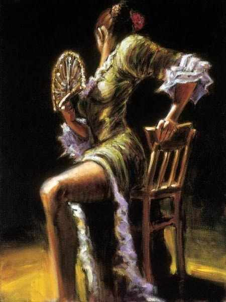"GX8614 ""Девушка на стуле с веером"""