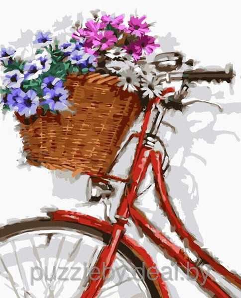 """GX8632 """"Красный велосипед с корзиной цветов"""""""