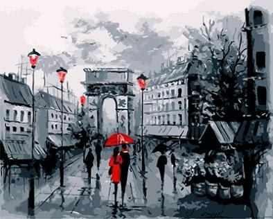 """GX8637 """"Пара под красным зонтом, 4 фонаря"""""""