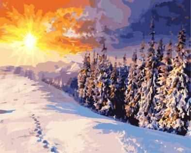 """GX8783 """"Зимний лес, следы на снегу"""""""