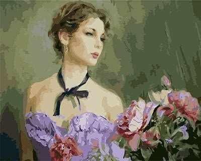 """GX9035 """"Девушка в сиреневом платье и цветы"""""""