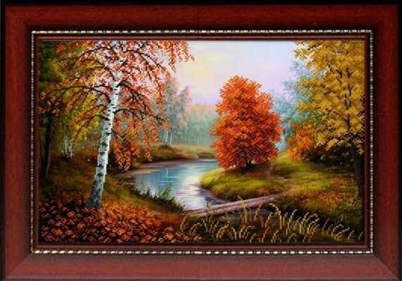 "К-3007 ""Осенний пейзаж"" - рисунок на ткани"