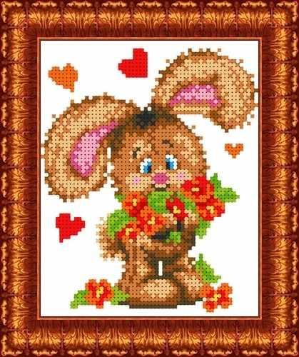 КБЖ 5013 Зайчонок с цветами (Каролинка)