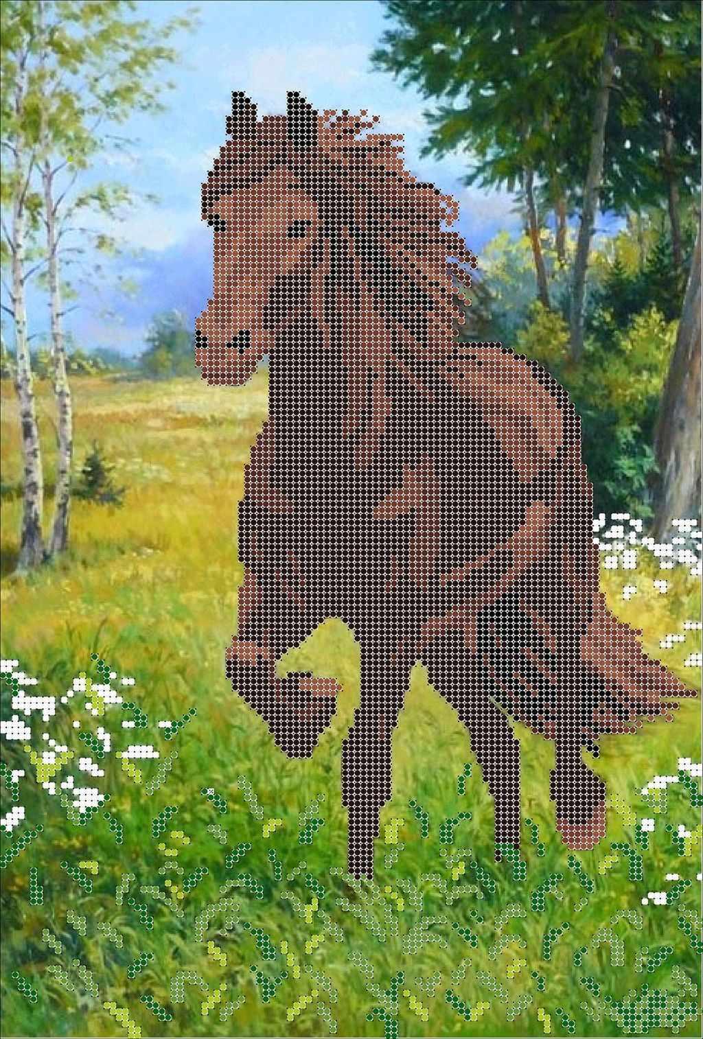 КМЧ-3473 Лошадь на лугу - схема (Мастерица)