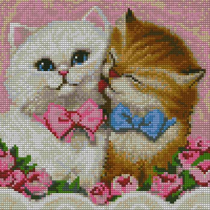 Кот и кошка (АЖ-1296) - картина стразами