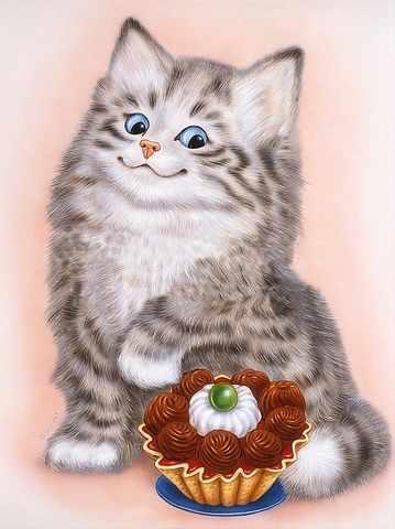 Кот и пирожное (АЖ-1190) - картина стразами