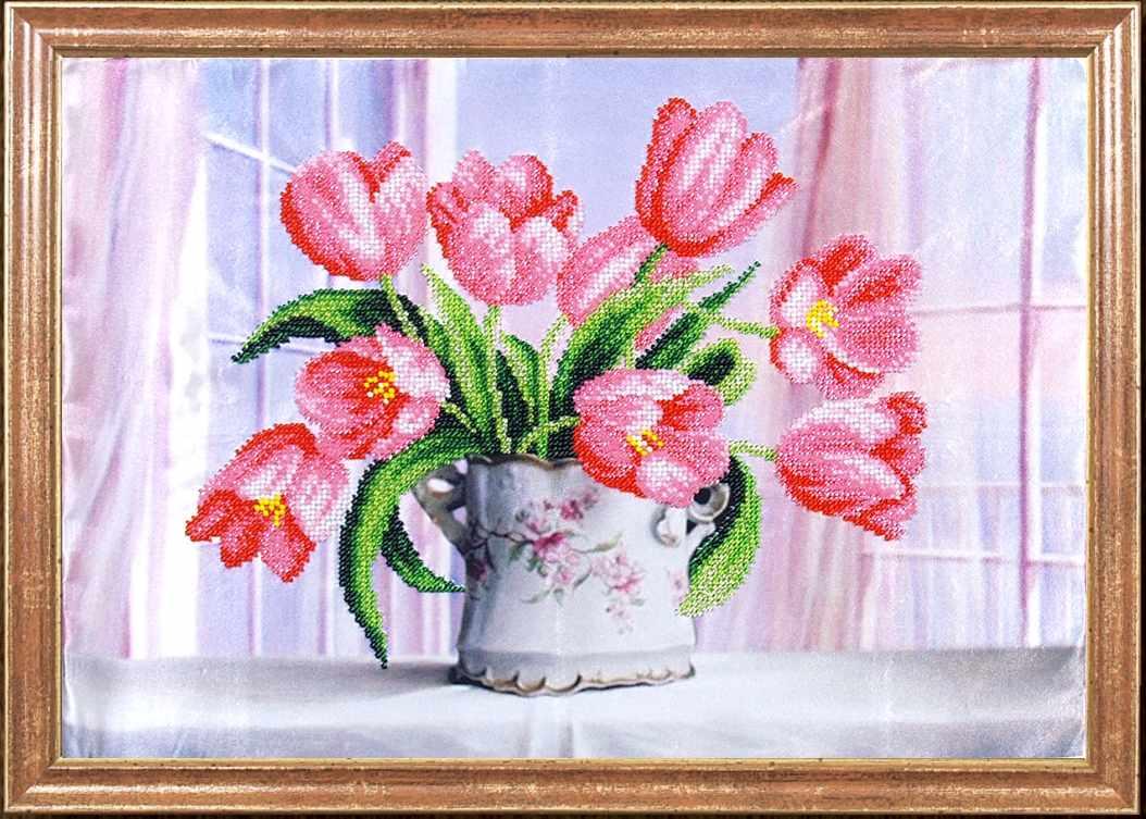 КС-030 Розовые тюльпаны - Магия канвы
