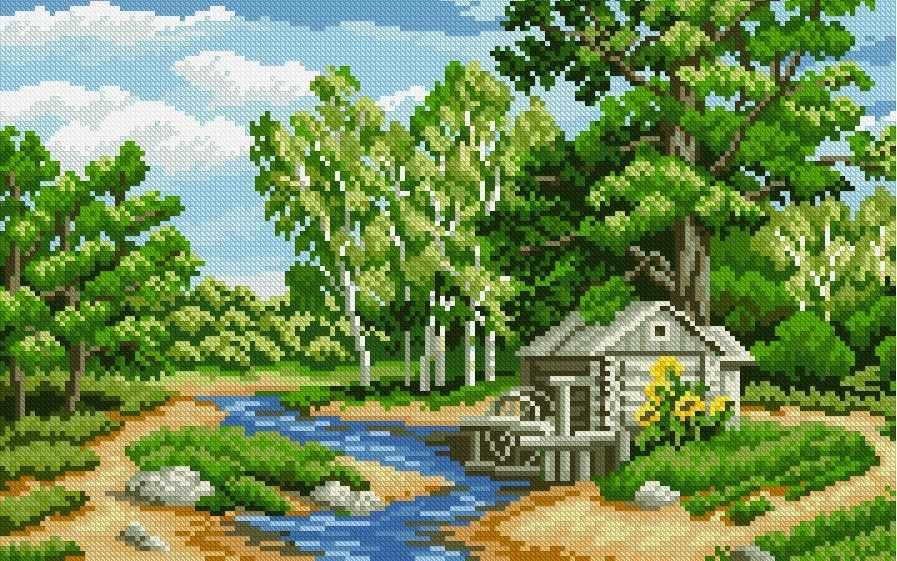 Лесная река (АЖ-1034) - картина стразами