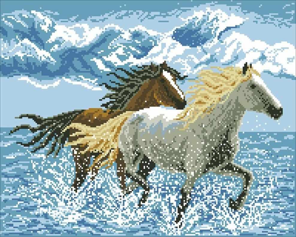 Лошади (АЖ-106) - картина стразами