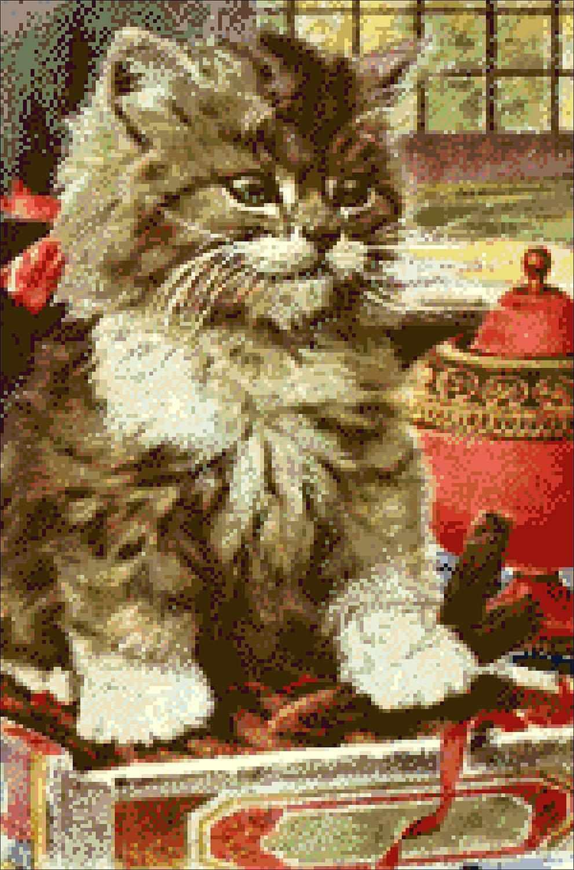 Любопытный котенок (АЖ-480) - картина стразами